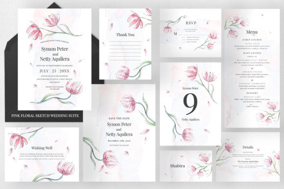 Pink Floral Sketch Wedding Suite Graphic Print Templates By Azka Creative