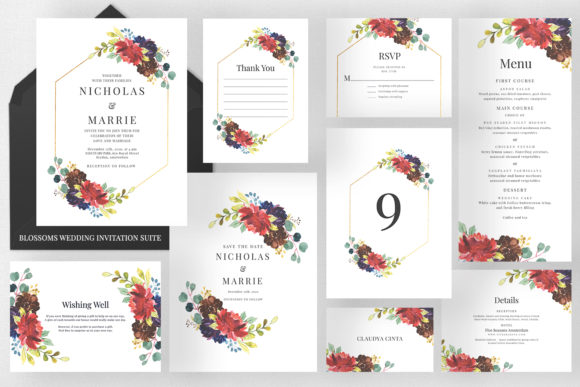 Blossoms - Wedding Invitation Suite Graphic Print Templates By Azka Creative