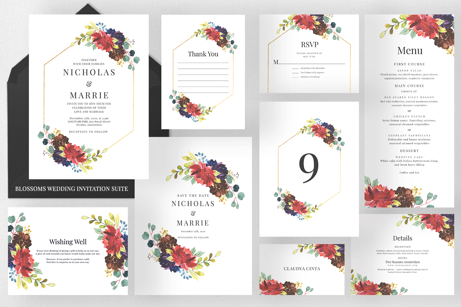 Download Free Blossoms Wedding Invitation Suite Graphic By Azka Creative for Cricut Explore, Silhouette and other cutting machines.
