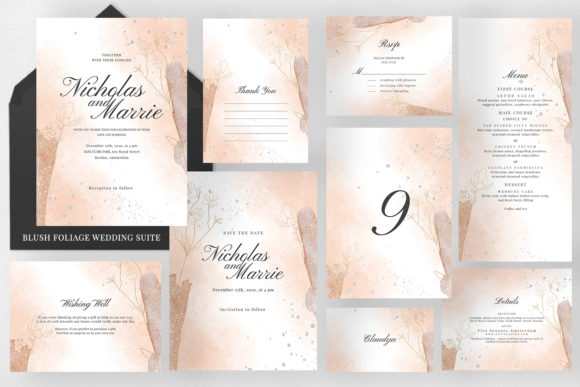 Blush Foliage Wedding Suite Graphic Print Templates By Azka Creative