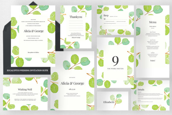 Eucalyptus Wedding Invitation Suite Graphic Print Templates By Azka Creative