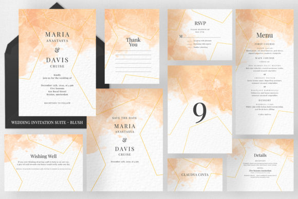 Peach Watercolor Invitation Suite Graphic Print Templates By Azka Creative