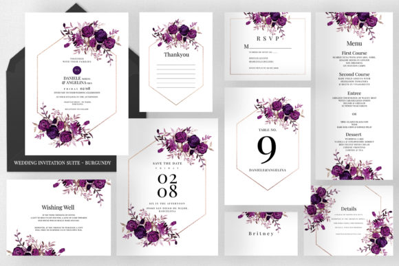 Wedding Invitation Suite - Burgundy Graphic Print Templates By Azka Creative