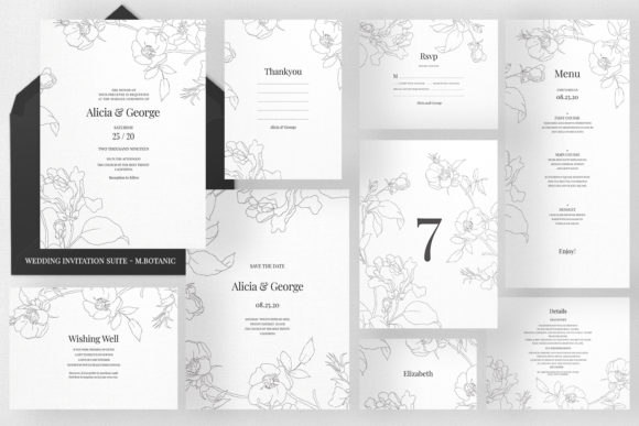 Wedding Invitation Suite - M.Botanic Graphic Print Templates By Azka Creative