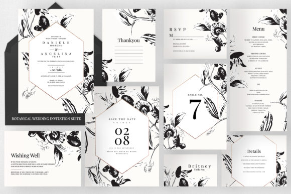Botanical Wedding Invitation Suite Graphic Print Templates By Azka Creative
