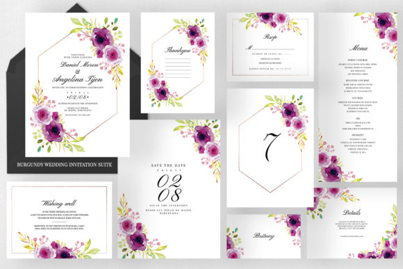 Burgundy Wedding Invitation Suite Graphic Print Templates By Azka Creative