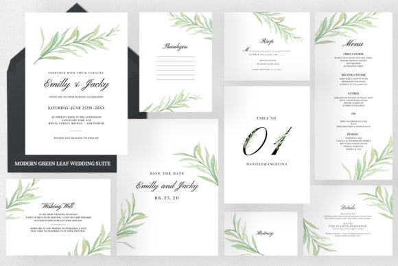 Modern Green Leaf Wedding Suite Graphic Print Templates By Azka Creative