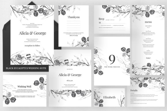 Black Eucalyptus Wedding Suite Graphic Print Templates By Azka Creative