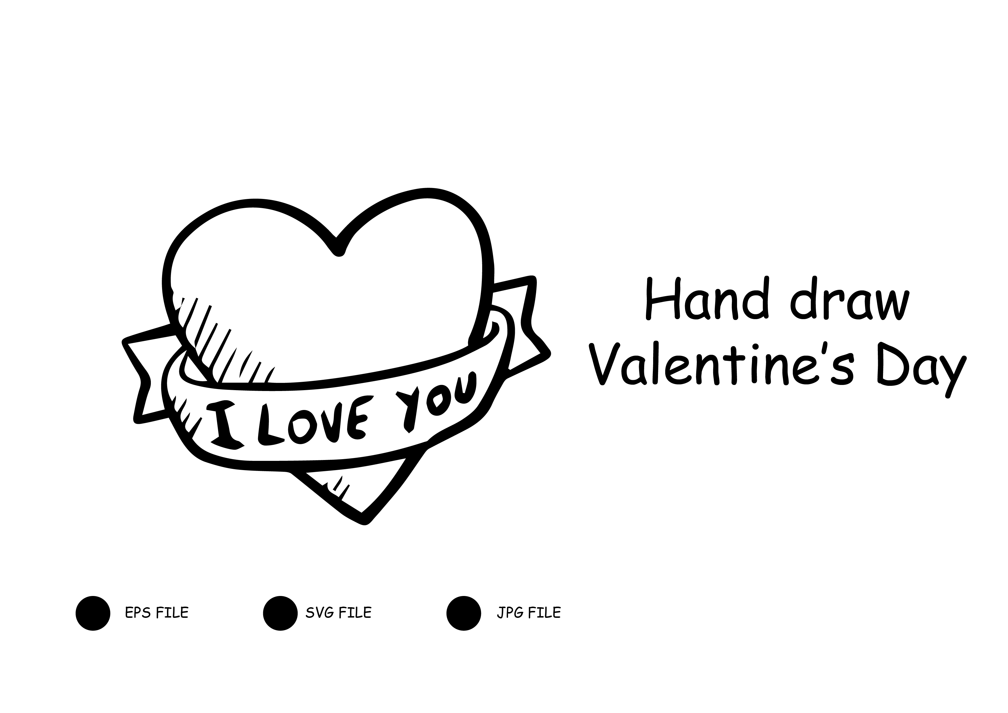Download Free Hand Draw Valentine S Day Graphic By Raihanmubarok48 Creative for Cricut Explore, Silhouette and other cutting machines.