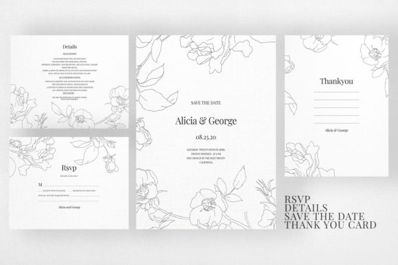 Wedding Invitation Suite M Botanic Grafik Von Azka Creative