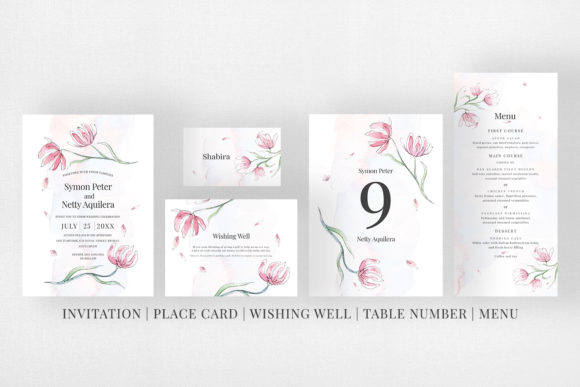Download Free Pink Floral Sketch Wedding Suite Graphic By Azka Creative for Cricut Explore, Silhouette and other cutting machines.