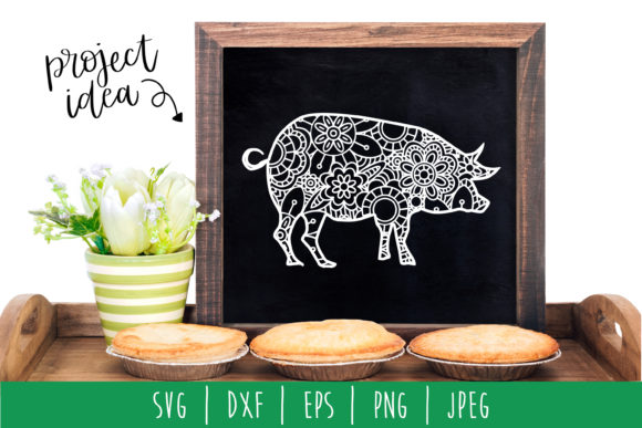 Download Free Pig Mandala Zentangle Graphic By Savoringsurprises Creative for Cricut Explore, Silhouette and other cutting machines.