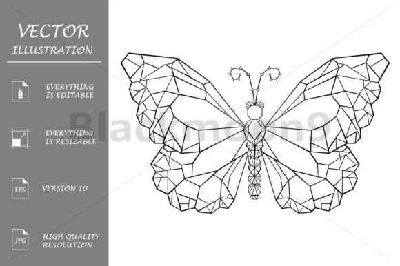 Polygonal Butterfly Monarch Graphic Illustrations By Blackmoon9