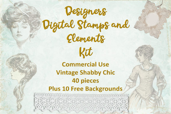 Print on Demand: Vintage Digital Stamps and Overlays Graphic Illustrations By The Paper Princess
