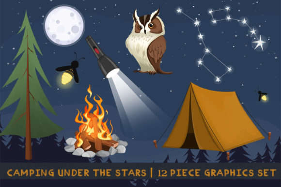 Camping Under the Stars Graphic Illustrations By Dapper Dudell