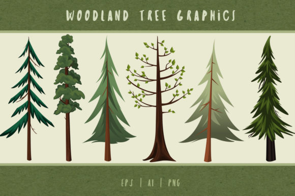 Download Free Woodland Trees Graphics Clip Art Graphic By Dapper Dudell for Cricut Explore, Silhouette and other cutting machines.
