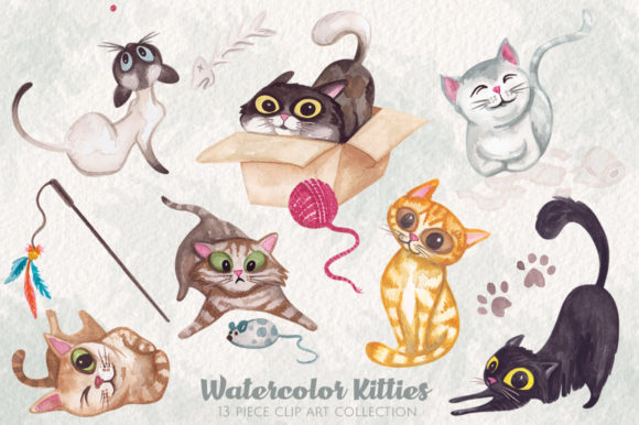 Watercolor Kitty Cats Clip Art Graphic Illustrations By Dapper Dudell - Image 1