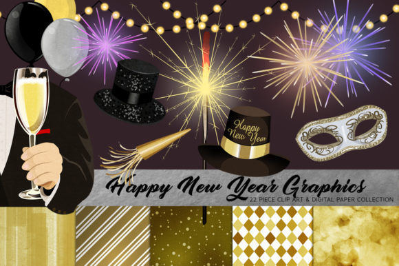 Happy New Year Clip Art Set Graphic Illustrations By Dapper Dudell