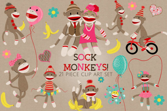 Sock Monkeys Clip Art Set Gráfico Ilustraciones Por Dapper Dudell
