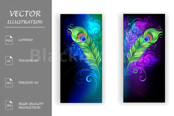 Two Banners with Peacock Feathers Graphic Graphic Templates By Blackmoon9