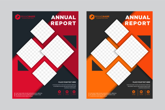 Print on Demand: Annual Report Orange Red Black Brochure Graphic Graphic Templates By noory.shopper