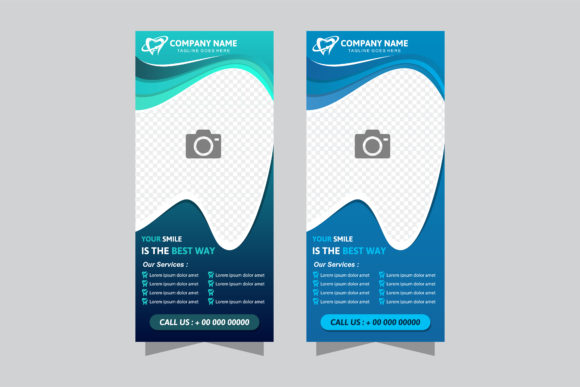 Print on Demand: Blue Dental Vertical Banner Graphic Graphic Templates By noory.shopper