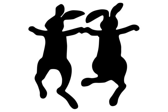 Download Free Dancing Bunnies Silhouette Graphic By Idrawsilhouettes for Cricut Explore, Silhouette and other cutting machines.