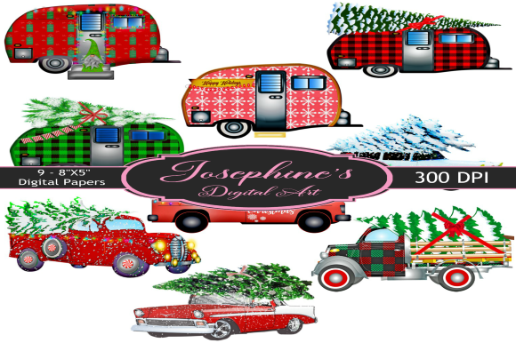 Print on Demand: Christmas Cars & Trailers Digital Paper Graphic Backgrounds By Joe's Digital Art