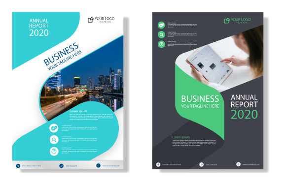 Print on Demand: Corporate Business Annual Report Graphic Print Templates By iop_micro