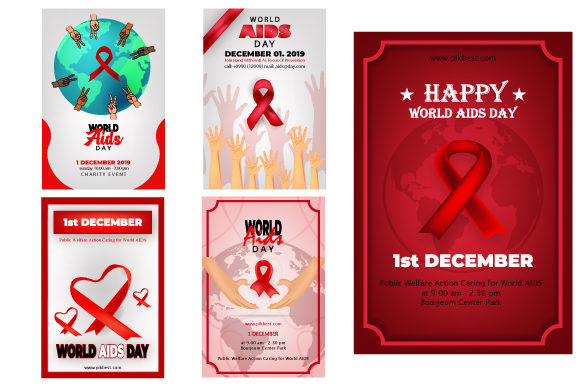 Print on Demand: 5 in Bundle Simple World AIDS Day Poster Graphic Print Templates By iop_micro