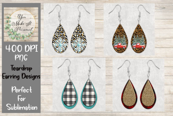 Print on Demand: Teardrop Earring Designs, Sublimation Graphic Print Templates By You Make It Personal