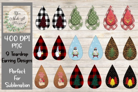 Print on Demand: Teardrop Earring Designs, Sublimation Graphic Print Templates By Valerie Anderson