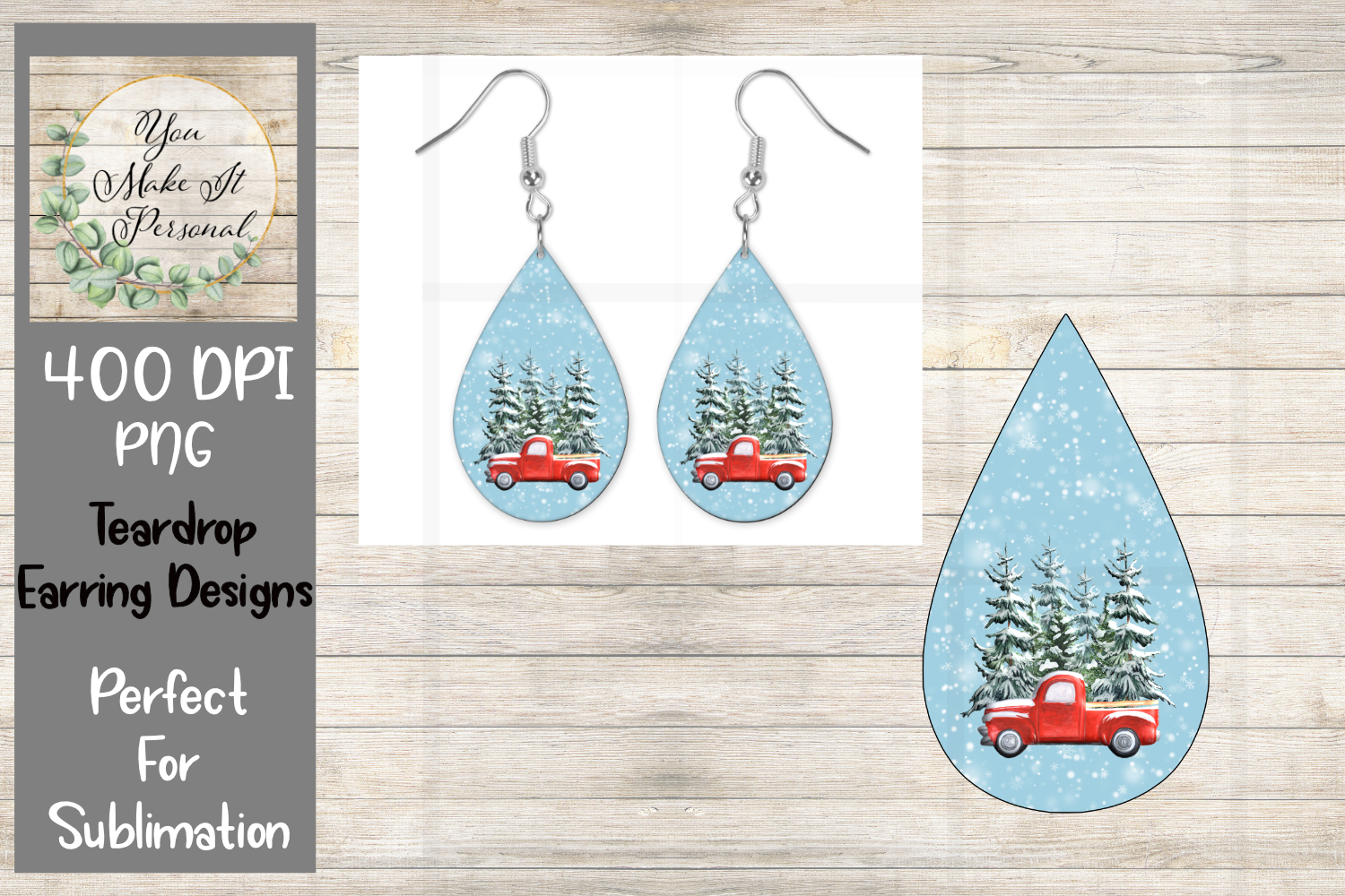 Download Free Teardrop Earring Red Truck Graphic By You Make It Personal for Cricut Explore, Silhouette and other cutting machines.