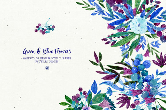Print on Demand: Green and Blue Flowers Graphic Illustrations By webvilla