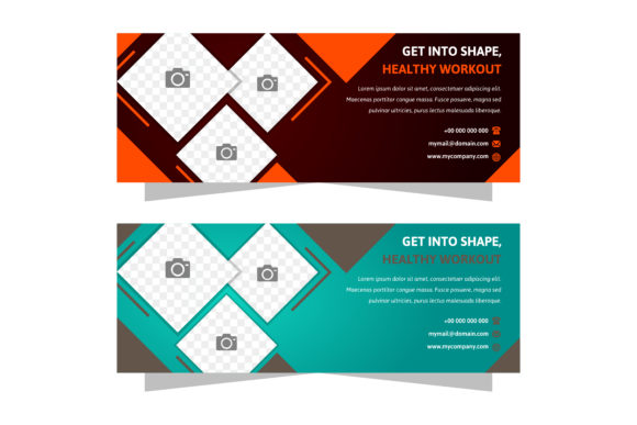Print on Demand: Horizontal Banner Brown Green Square Graphic Graphic Templates By noory.shopper