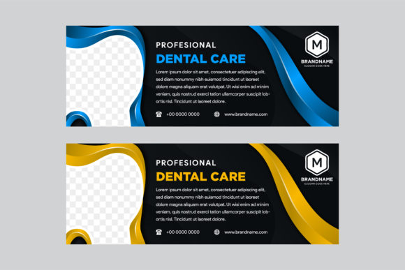 Print on Demand: Horizontal Banner Dental Gold Blue Black Graphic Graphic Templates By noory.shopper