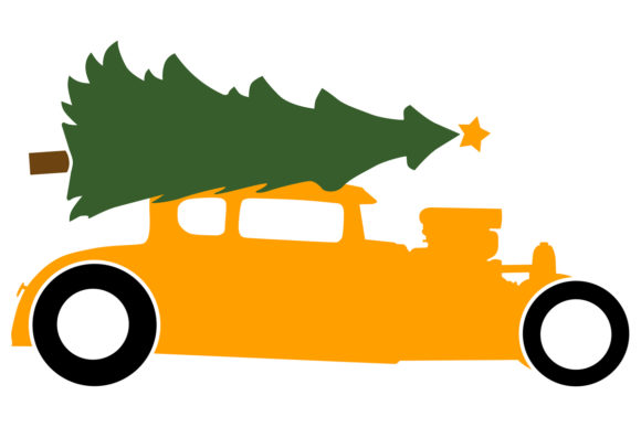 Download Free Hotrod With Christmas Tree On Roof Graphic By Idrawsilhouettes for Cricut Explore, Silhouette and other cutting machines.