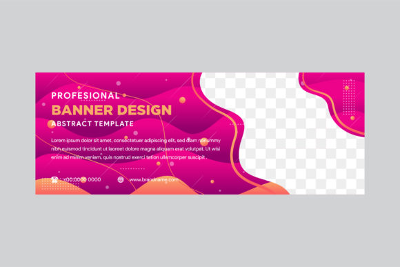 Print on Demand: Liquid Pink Brown Horizontal Banner Graphic Graphic Templates By noory.shopper