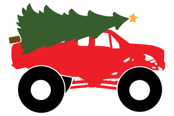 Download Free Monster Truck With Christmas Tree Graphic By Idrawsilhouettes for Cricut Explore, Silhouette and other cutting machines.