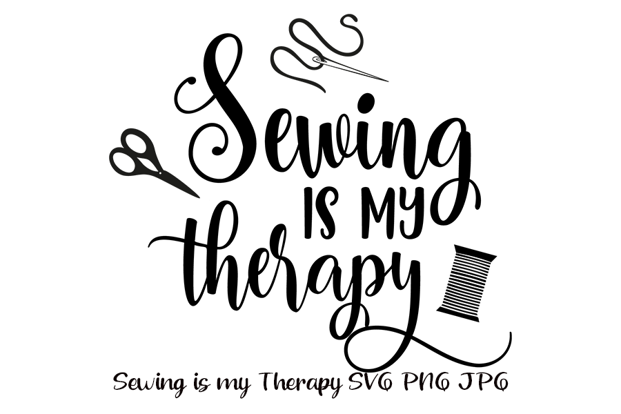 Download Free Sewing Is My Therapy Svg File Graphic By Am Digital Designs for Cricut Explore, Silhouette and other cutting machines.