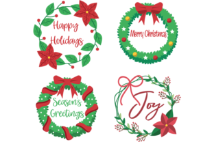 Download Free Beautiful Christmas Wreaths Graphic By Am Digital Designs for Cricut Explore, Silhouette and other cutting machines.