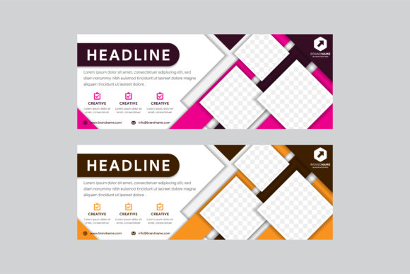 Print on Demand: Pink Gold Geometric Horizontal Banner Graphic Graphic Templates By noory.shopper