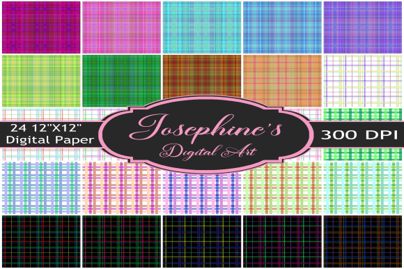 Print on Demand: Plaid Bundle Set of 24 Digital Papers Graphic Backgrounds By Josephine's Digital Art