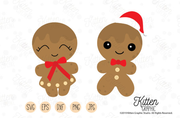 Download Free Gingerbread Couple Set Graphic By Kittengraphicstudio Creative Fabrica for Cricut Explore, Silhouette and other cutting machines.