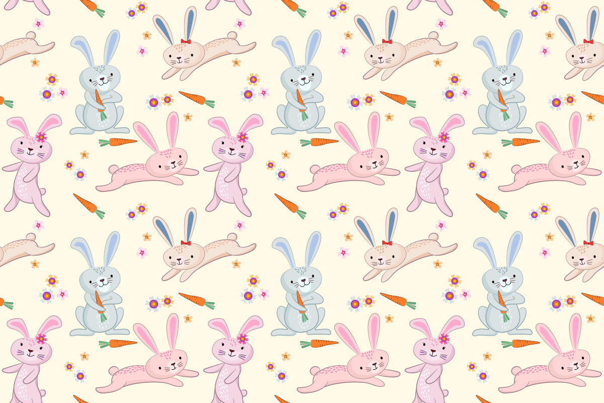 Download Free Cute Rabbit Seamless Pattern Graphic By Ranger262 Creative for Cricut Explore, Silhouette and other cutting machines.