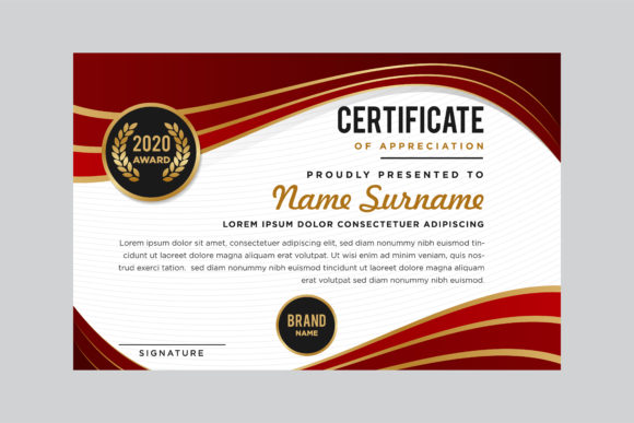 Print on Demand: Red Gold Certificate Flow Graphic Print Templates By noory.shopper