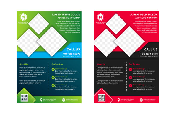 Print on Demand: Square Flyer Red, Green Blue Graphic Graphic Templates By noory.shopper