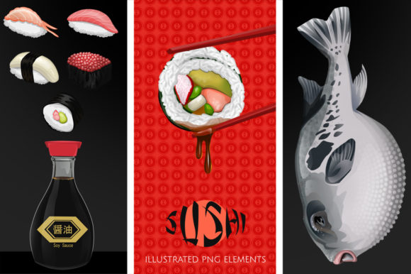 Japanese Sushi Illustrated Graphics Graphic Illustrations By Dapper Dudell - Image 1