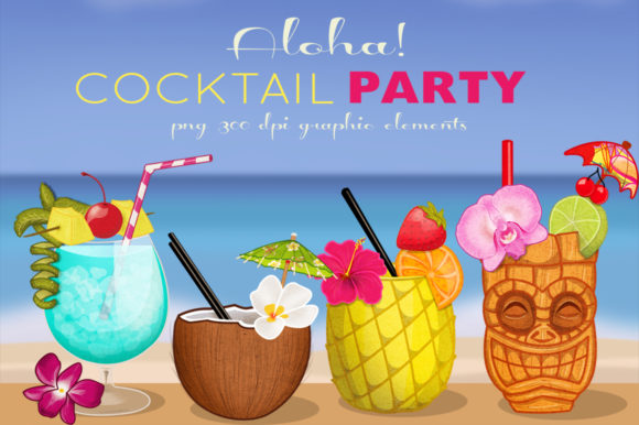 Tropical Cocktail Party Elements Graphic Illustrations By Dapper Dudell