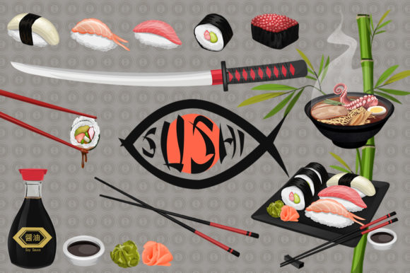 Japanese Sushi Illustrated Graphics Graphic Illustrations By Dapper Dudell - Image 3